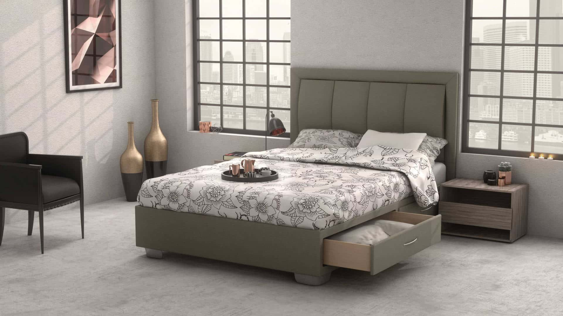 LAVASTONE Headboard With Core Space Base